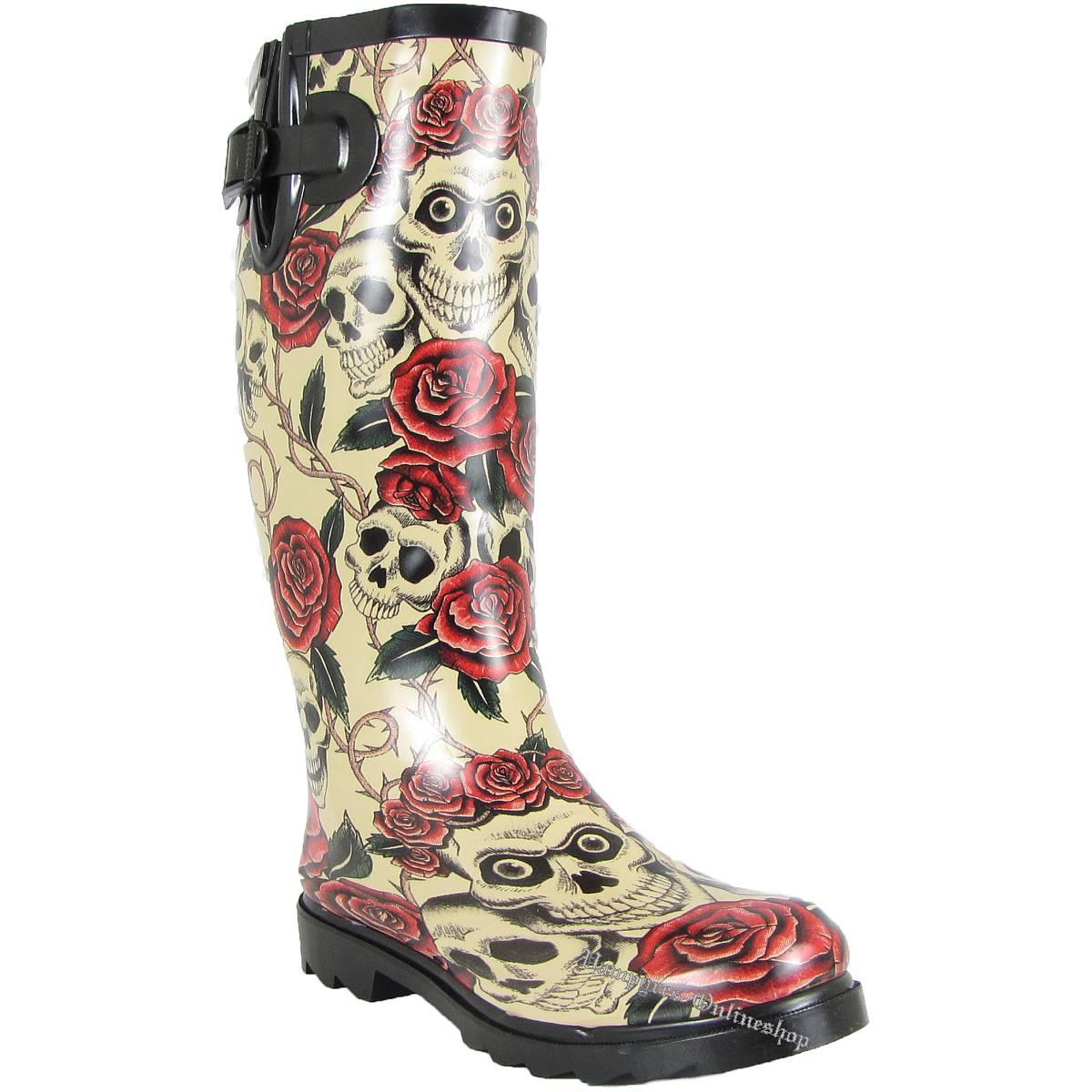 alcatraz skull roses rain boot beige totenkopf rosen. Black Bedroom Furniture Sets. Home Design Ideas