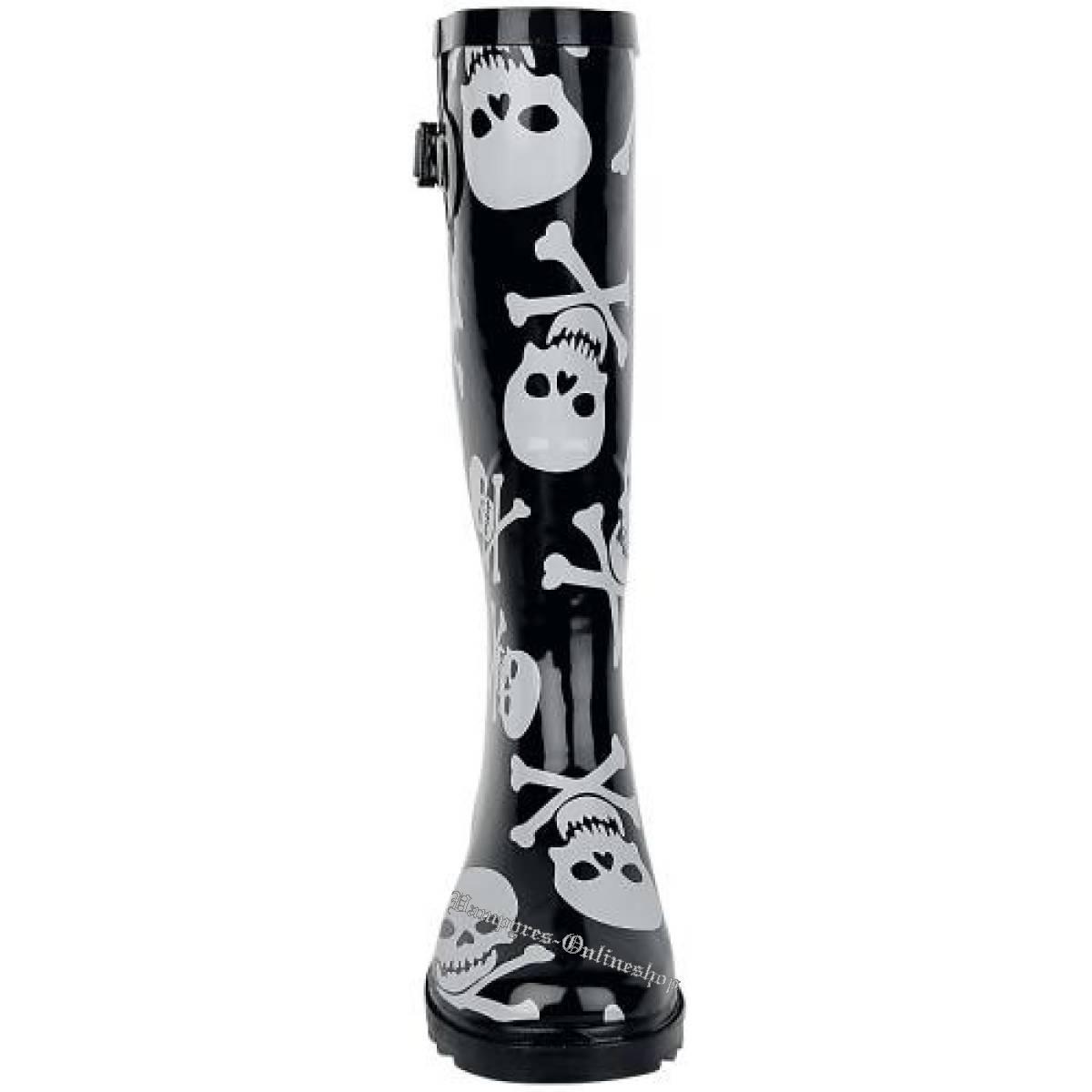 Alcatraz Skull Bones Rain Boot Schwarz Totenkopf Knochen Gummistiefel