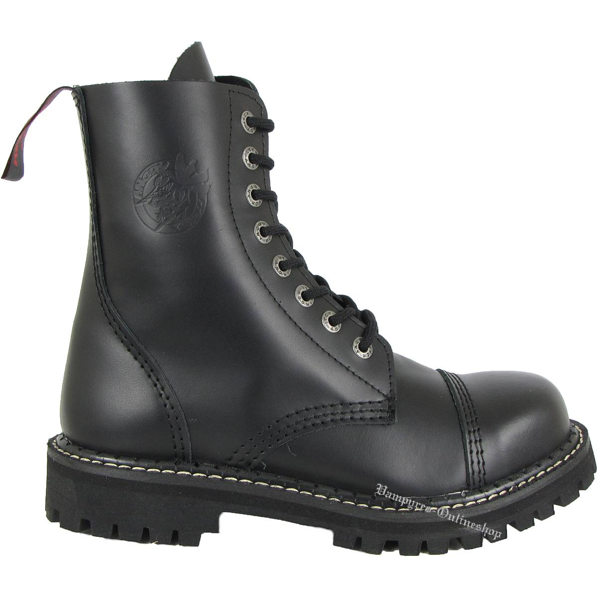 Angry Itch 10 Loch Schwarz Rangers Leder Stiefel Stahlkappen Boots Schuhe