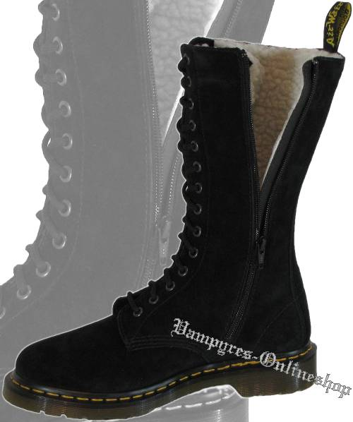 dr martens 14 loch zip blair schwarz docs winter stiefel. Black Bedroom Furniture Sets. Home Design Ideas