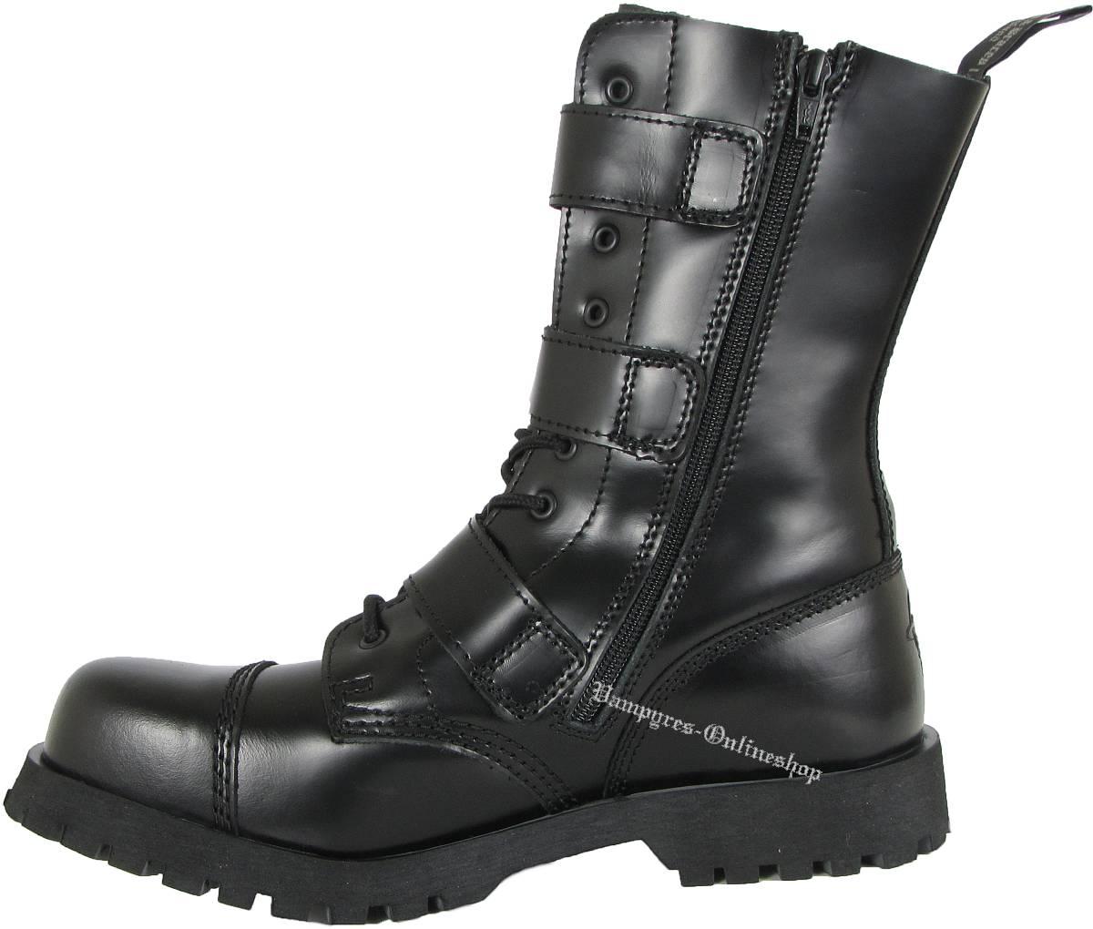 Boots And Braces Easy 14-Loch Schwarz RV mit Reißverschluss Leder Stiefel Schuhe
